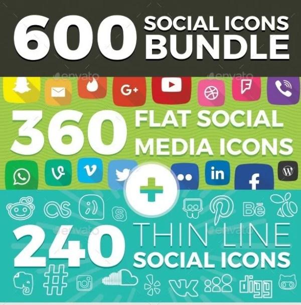 600 Social Media Icons