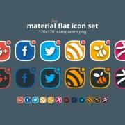 Free Material Flat Social Icon Set
