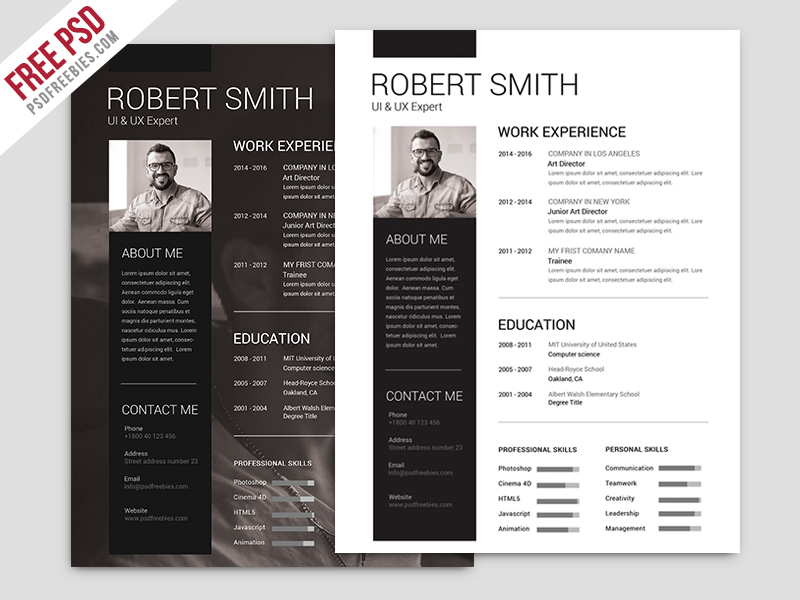 Free Simple and Clean Resume Template PSD