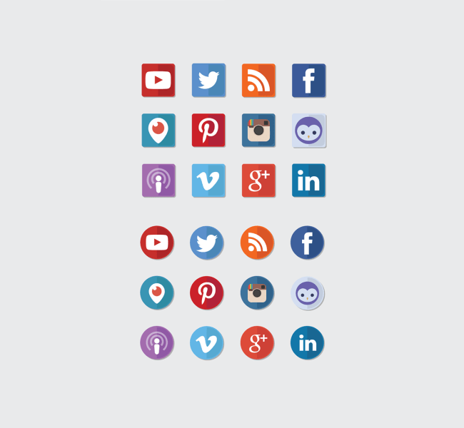Free Social Media Icons - Two Tones Circles and Squares