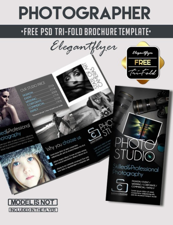 free tri fold photographer psd brochure template