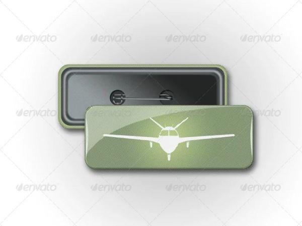 Pin Rectangle Button Badge Mockup