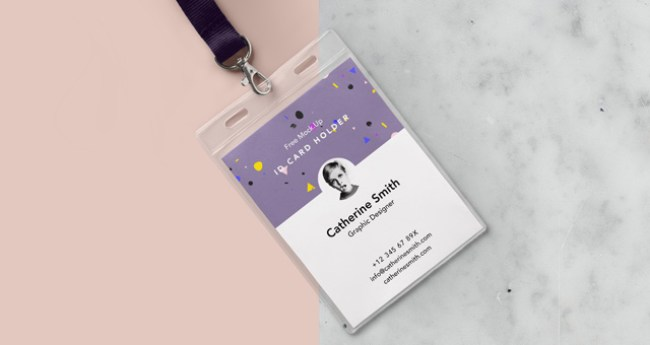 Psd Identity Card Holder Mockup