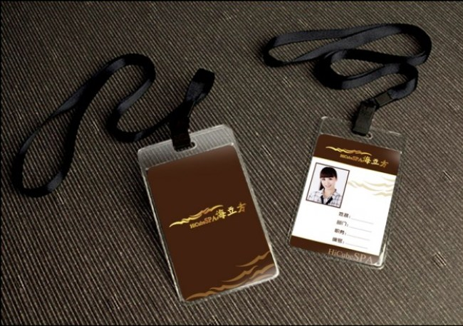 Work Card Template with Lanyard Free PSD