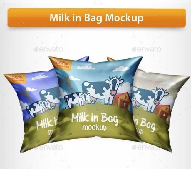 Milk Bag Mockup