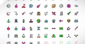 Science and Space PSD Colored Icons