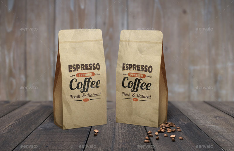 12 coffee bag mockups and templates for the graphic