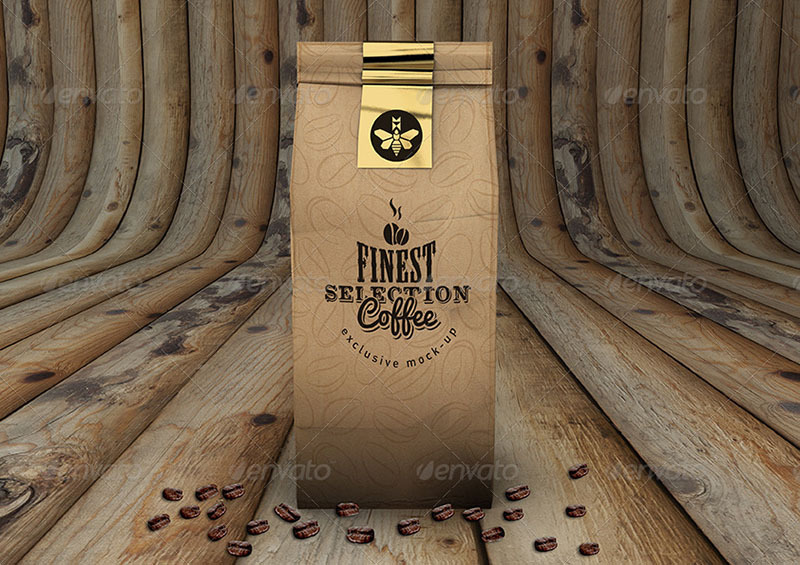 awesome psd coffee bag design template