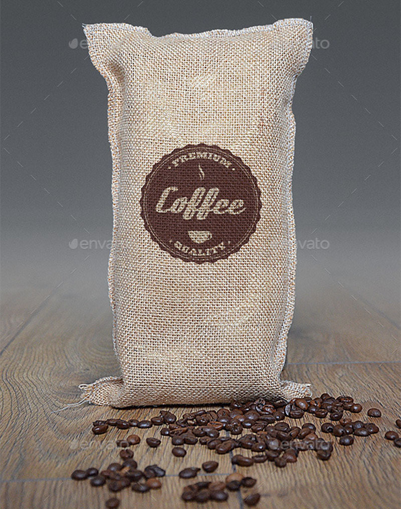 professional coffee bag logo mockup