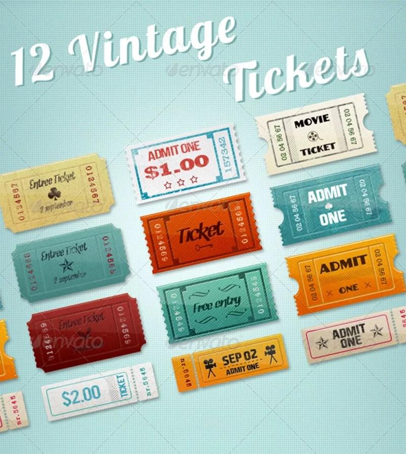 premium vintage event cinema ticket template mockup