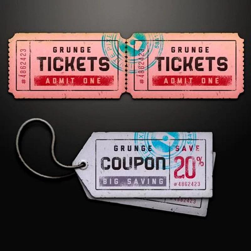 nice free ticket mockup template design psd