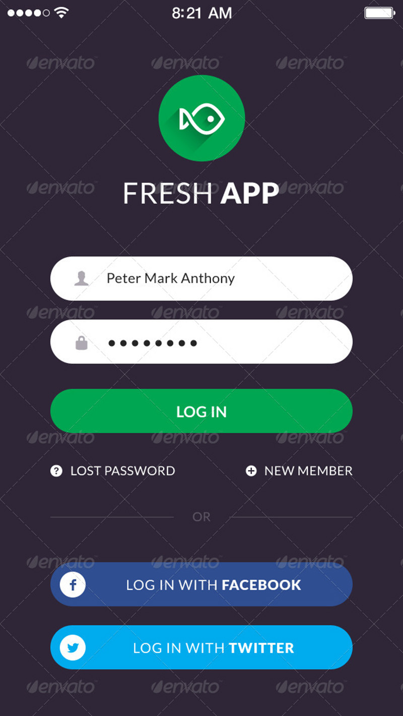 fresh and new mobile app ui kit design psd template