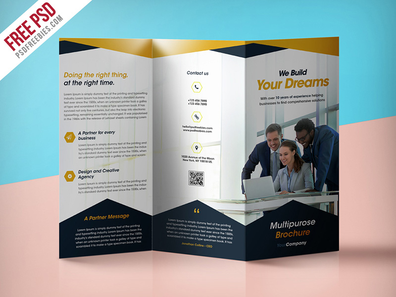 free professional business trifold brochure template