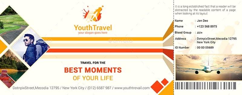 unique event travel ticket premium psd template