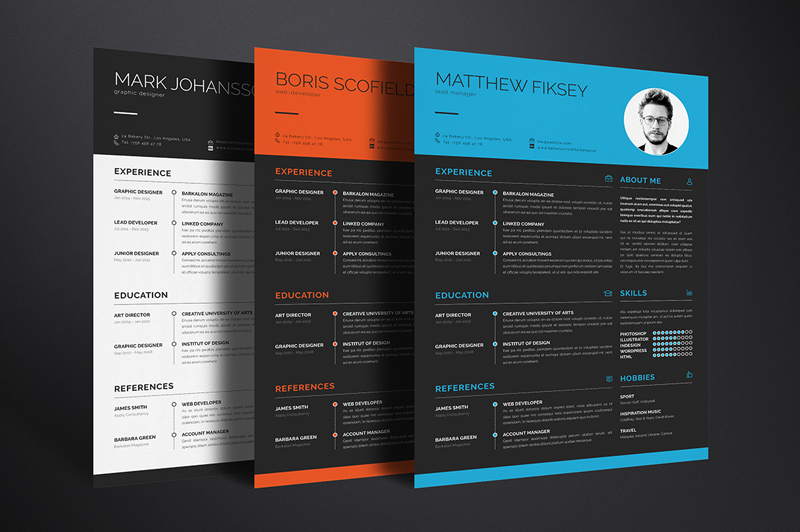 download amazing PSD resume templates for free