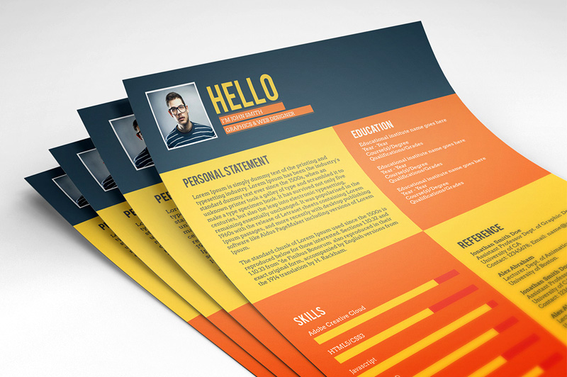 download latest PSD resume templates for free