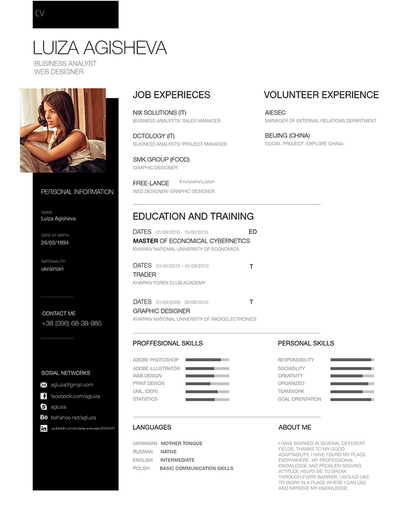 download cool PSD resume templates for free