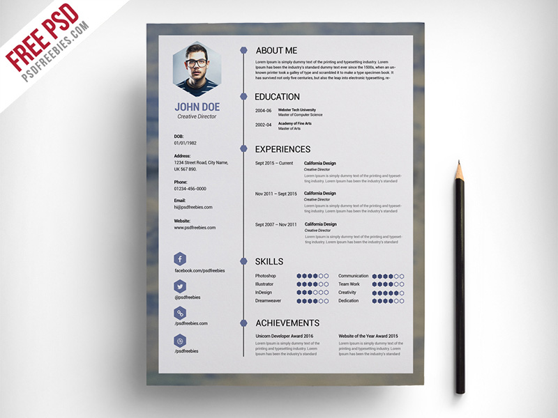 Superb Free Download Best PSD Resume Template