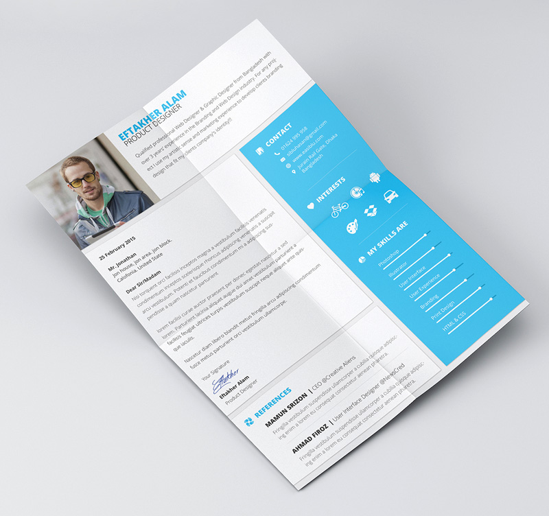 Amazing Cover Page Templates Word Psd: 25+ Modern And Wonderful PSD Resume Templates Free