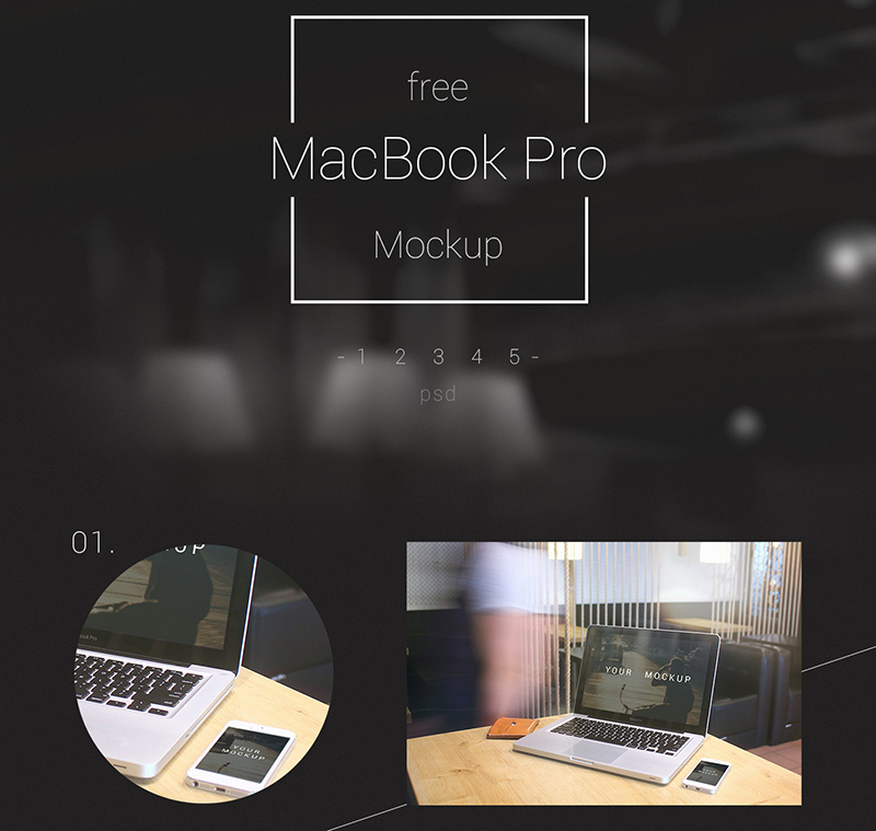 latest MacBook Pro Mockup in PSD for free download