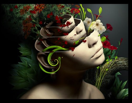 Female Nature by Tamilia 500x391 19 Highly Creative Photo Manipulation Featuring Human and Nature