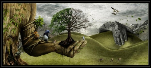 father nature canvas 500x226 19 Highly Creative Photo Manipulation Featuring Human and Nature