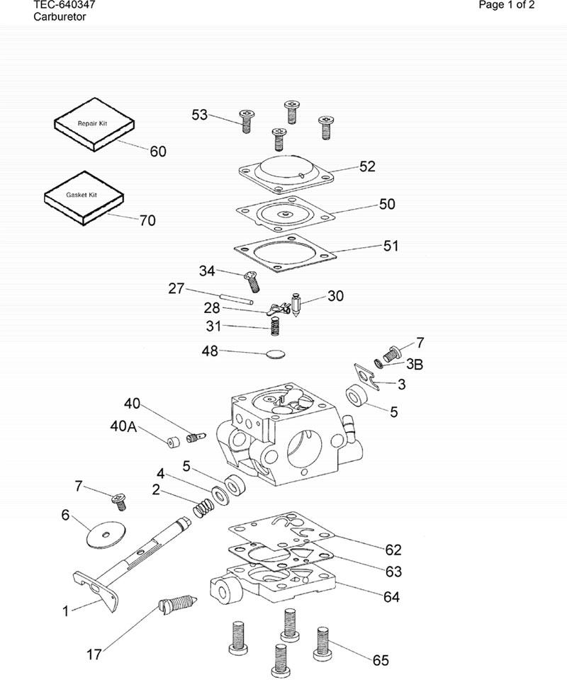 Tecumseh Model TM049XA-3610B Parts Breakdown