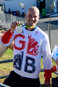 Richard Hounslow with his silver Olympic medal