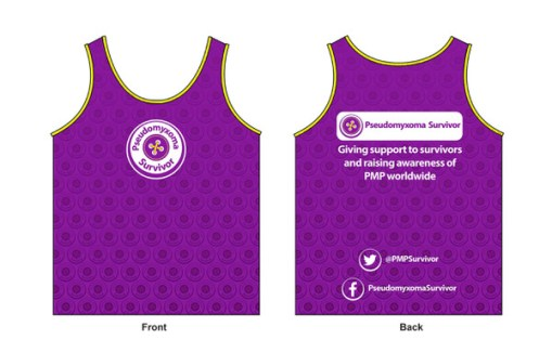 Illustration of Pseudomyxoma Survivor running vest with button logo to front and slogan to rear.