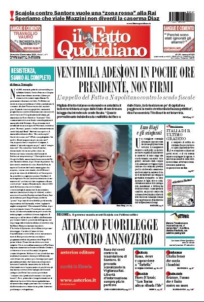 copertina de il fatto 27/09/2009
