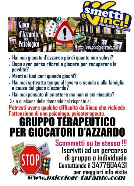 gruppo terapeutico per giocatori d'azzardo zinzi ettore www.psicologo-taranto.com psicoterapia taranto ludopatia