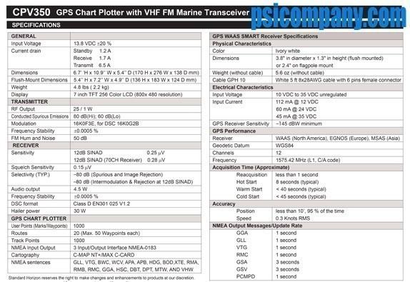 Standard Horizon CPV350 Chartplotter, VHF-FM, Loudhailer