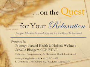 """""""...On the Quest for Your Relaxation."""" Simple & Effective Stress-Reducers for the Busy Professional @ DoubleTree by Hilton Roseville/Minneapolis --- Workshop Space 
