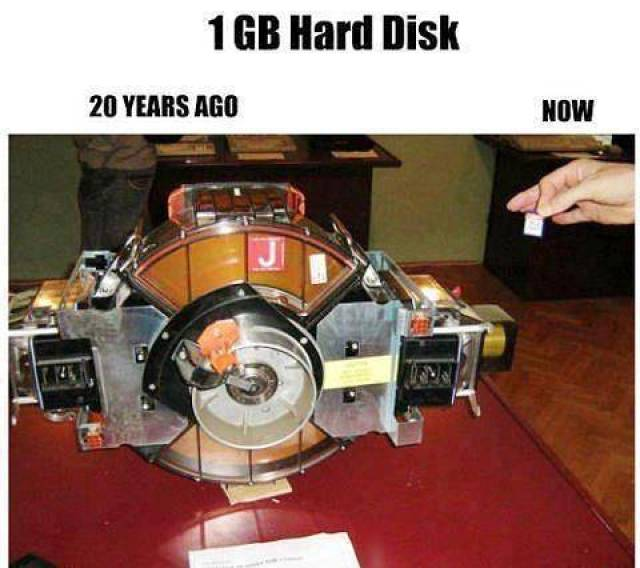 1 GB Hard Disk 20 years ago... and Now.