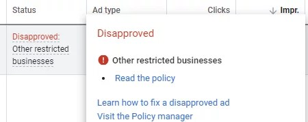 """Google ad disapproved as """"Other Restricted Businesses"""""""