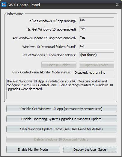 GWX Control Panel dialog