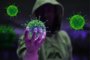 Coronavirus being held in a persons hand
