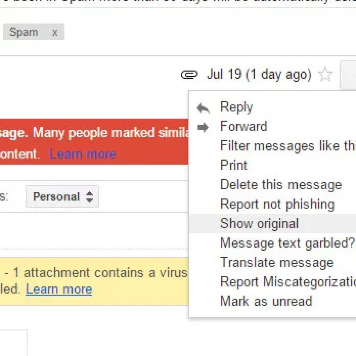 How to view email headers in Gmail