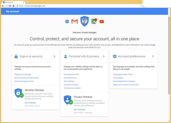 Google My Account Security & Privacy Update
