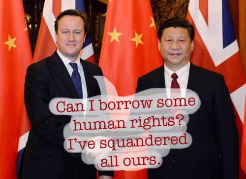 Xi Jinping, David Cameron, human rights, pig