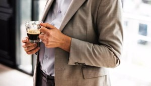 adult businessman coffee cup suit