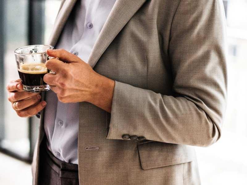 adult businessman coffee cup suit