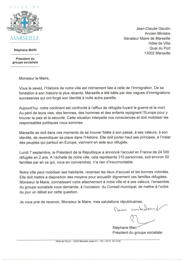 Lettre de Stéphane Mari à Jean-Claude Gaudin lui demandant un débat sur l'accueil des réfugiés à Marseille