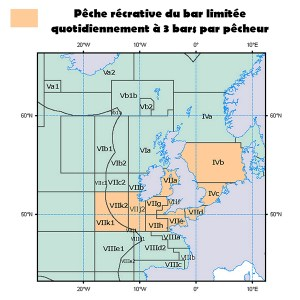carte règlementation pêche du bar ( FCSMP )