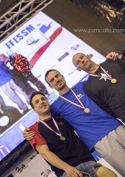podium homme 16x50m: Lequette, Provenzani, Breidenbach (de gauche à droite)