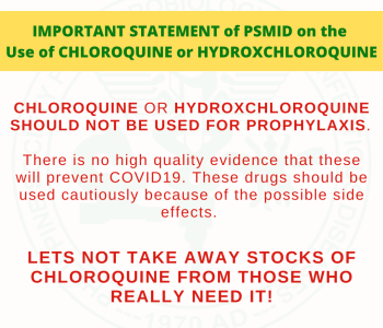 Statement Against Use of Chloroquine or Hydroxchloroquine