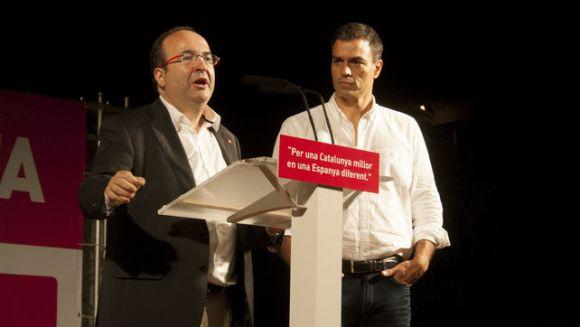 Miquel Iceta y Pedro Sánchez, en un acto. Fuente: eldiario.es Foto: Xavier Puig