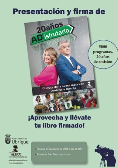 Cartel presentacion 20 años ADisfrutarlo en Ubrique por Modesto Barragán