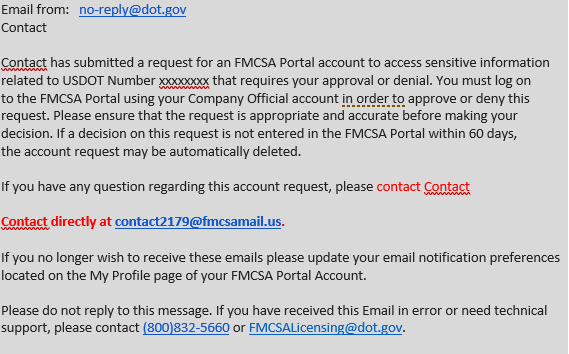 Example of an email impersonating the FMCSA