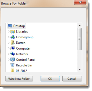 Select an email export folder